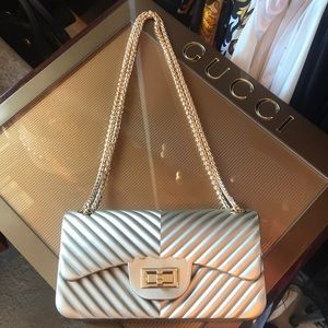 Handbags - Matt Gold Chevron Style Rubber Purse